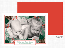 Pinecone and Berry Border Flat Photo Holiday Cards