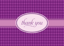 Purple Hounds Tooth Thank You Card